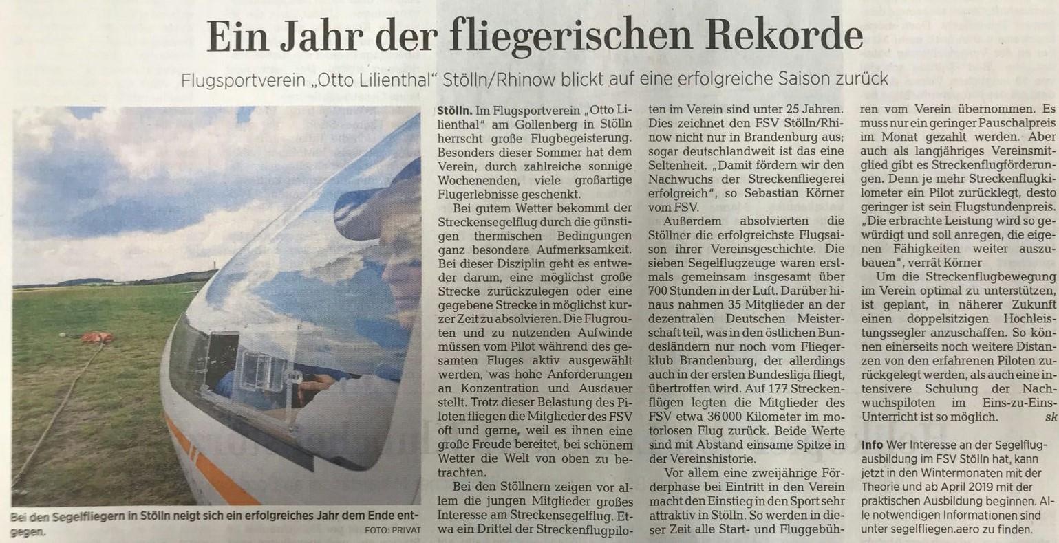 Artikel: Ein Jahr fliegerischer Rekorde