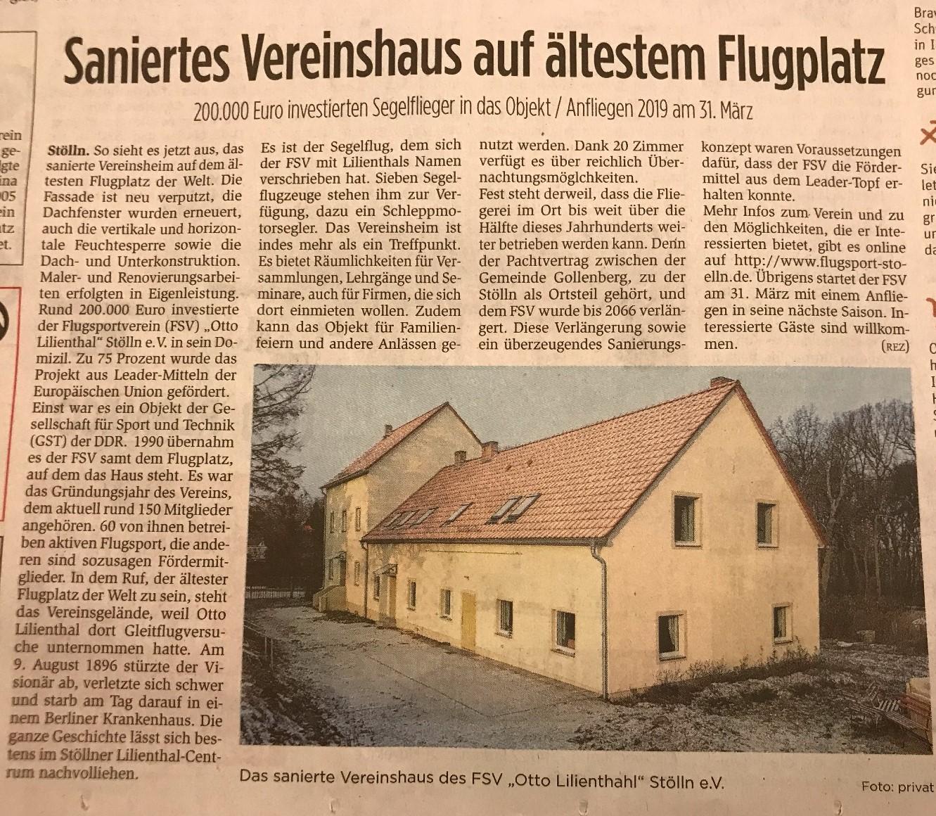 Zeitungsartikel BRAWO Haussanierung